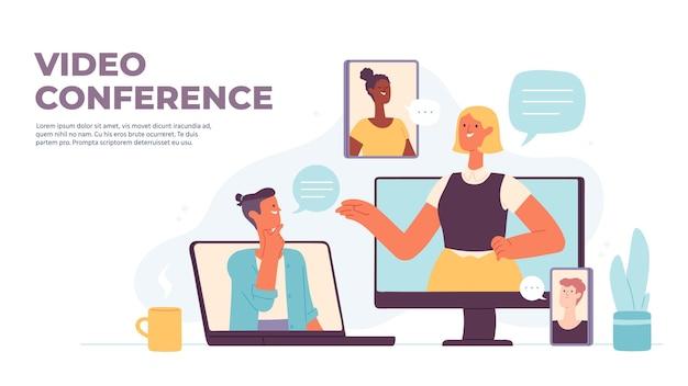Videoconferentie. virtuele oproep met mensen chatten op computer, smartphone, tablet en laptop scherm. gadgets voor online vergaderings vectorconcept. illustratie online bellen internetcommunicatie