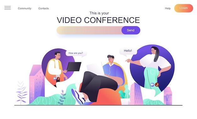 Videoconferentie webconcept voor bestemmingspagina