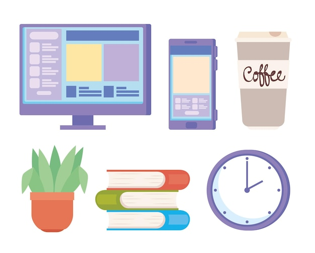 Videoconferentie zes set pictogrammen