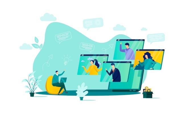 Videoconferentieconcept in stijl met personenpersonages in situatie