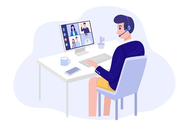 Videoconferenties thuis, man met videogesprek bijeenkomst met klanten thuis.
