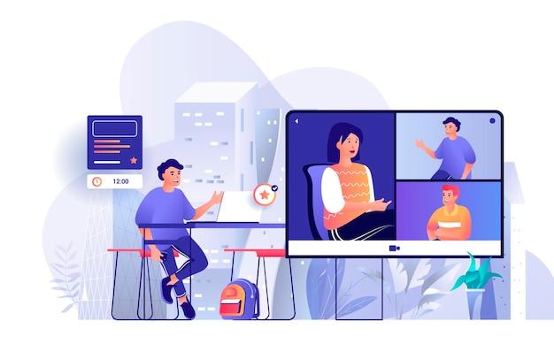 Videoconferentiescèneillustratie van mensenkarakters in vlak ontwerpconcept