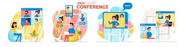 Videoconferentiescènes in vlakke stijl