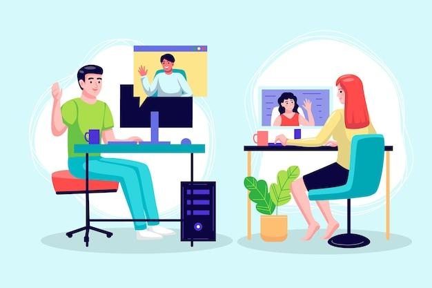 Videoconferentiescènes met platte hand getrokken vrienden