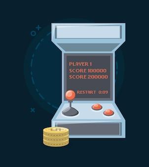 Videogame arcade-machine en munten icoon