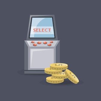 Videogame arcade-machine en munten