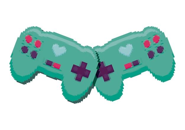 Videogame bestuurt pixelate pictogram