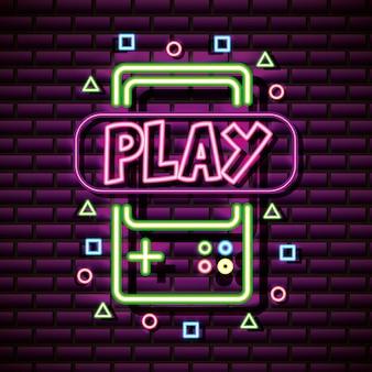 Videogame grafische bronnen brick wall, neon style