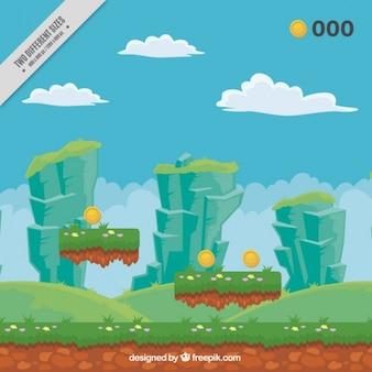 Videogame landschap achtergrond