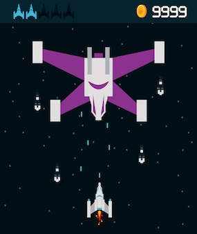 Videogame ruimteschip alien