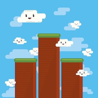 Videogamebeeld met korrelige bergen en kawaiiwolken