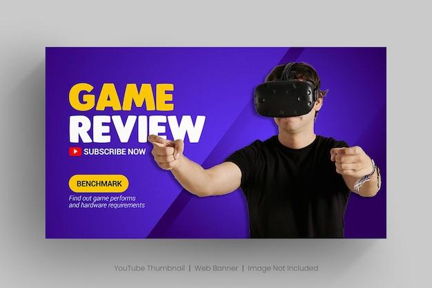 Videogamebeoordeling youtube kanaalminiatuur en webbanner