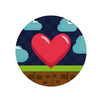 Videogamebesturing met hart pixelate