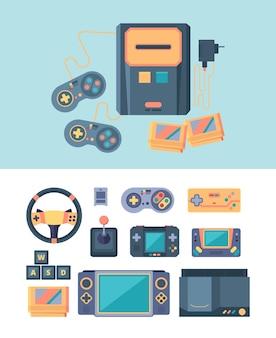 Videogameconsole met joystickillustratie