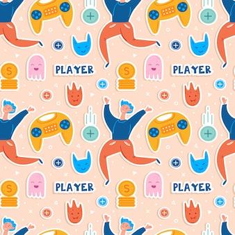 Videogamekarakters. man speler met joystick. emoji met verschillende gezichten. vliegende munten. computerspel, stream, blog, vlog. vlak hand getrokken naadloos patroon