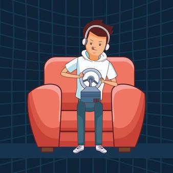 Videogames en millennials-tekenfilms