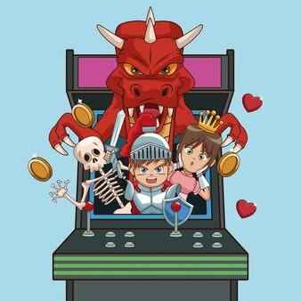 Videogames karakters cartoons op arcade