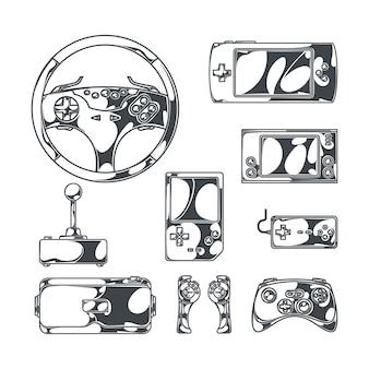 Videogames met monochrome afbeeldingen in schetsstijl van vintage joysticks, gamepads en draagbare spelapparaten
