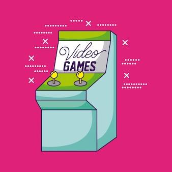 Videogames ontwerpen een arcadeillustratie van de videogameconsole