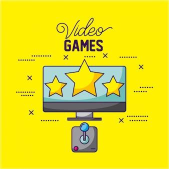 Videogames ontwerpen een tv met drie sterren en een bedieningsillustratie