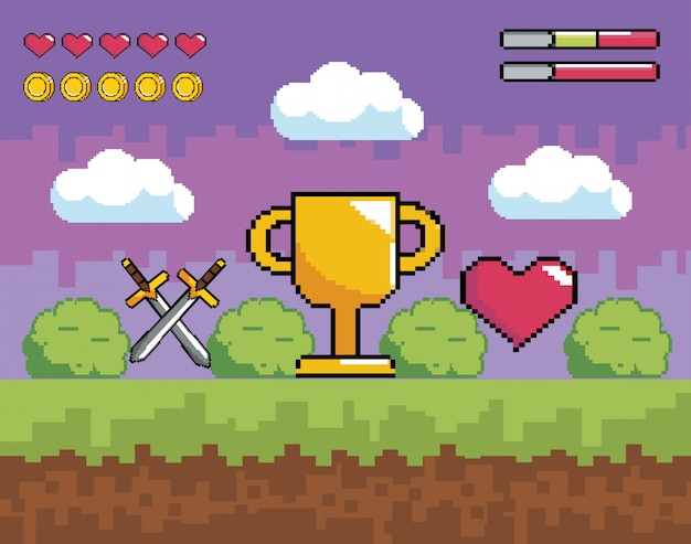 Videogamescène met korrelige bekerprijs en zwaarden met een hart
