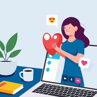 Videogesprek concept. videogesprek met geliefde. laptop met vriendin op scherm. vector platte cartoonillustratie voor het ontwerpen van websites en banners