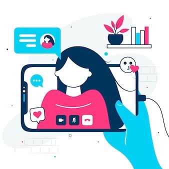 Videogesprek concept. videogesprek met geliefde. mannenhand met smartphone met vriendin op het scherm. vinger touchscreen. vector platte cartoonillustratie voor het ontwerpen van websites en banners