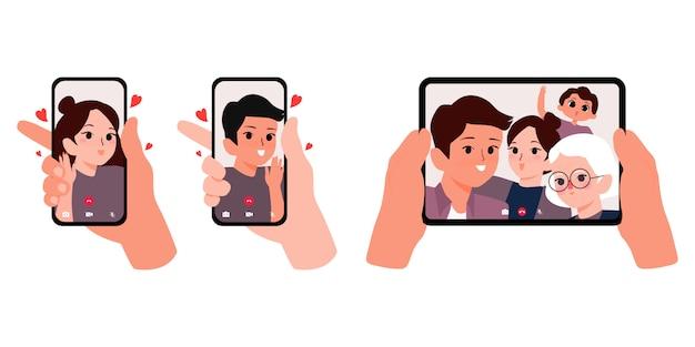 Videogesprek met geliefde. mannelijke hand met smartphone met vriendin op scherm. vrouwelijke hand met vriendje. handen met tablet met familie op scherm illustratie