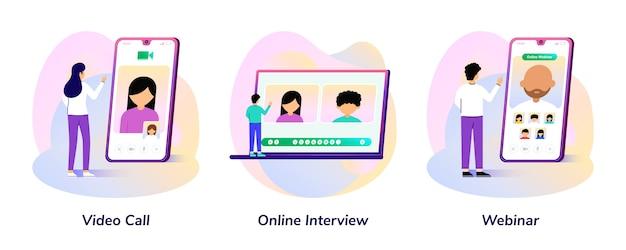 Videogesprek, online interview, webinar-smartphone en laptopgradiëntillustratie