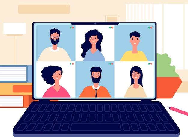Videogesprek voor thuis. online werkconferentie, virtuele klas of team. digitale zakelijke chat op afstand. internet onderwijs vectorillustratie. internet online communicatie gebruik computer