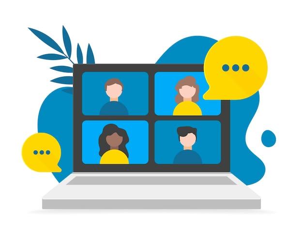 Videogesprek, werken vanuit huis, sociale afstand nemen, zakelijke discussie op het laptopscherm. illustraties. conferentievideogesprek op laptop, achtergrondkrabbel en bladeren.