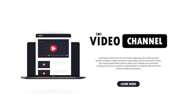 Videokanaal. online kijken naar vlog, webinars, lezing, les of training op laptop.