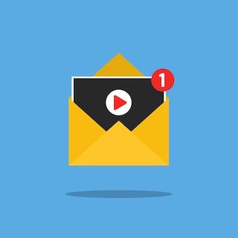 Videomelding in brief op blauwe achtergrond