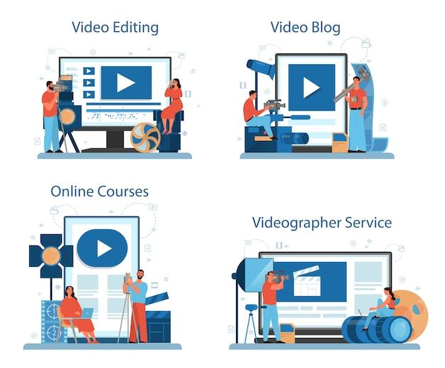 Videoproductie of videograaf online service of platformset. film- en bioscoopindustrie. online videobewerking, videoblog, online cursus. geïsoleerde vectorillustratie