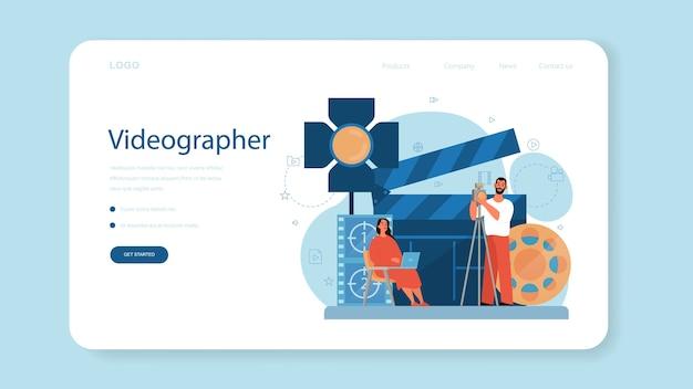 Videoproductie of videograaf webbanner of bestemmingspagina. film- en bioscoopindustrie. met speciale apparatuur visuele content maken voor social media.