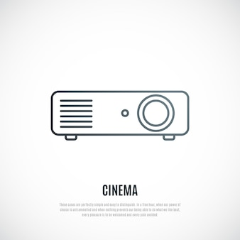 Videoprojector lijn pictogram geïsoleerd op een witte achtergrond