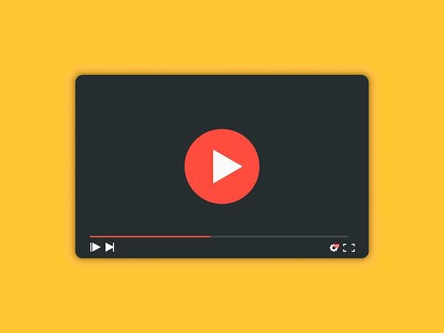 Videospeler met schaduw voor web- en mobiele apps. videospeler interface achtergrond - vectorillustratie