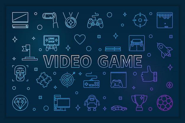Videospelletje blauwe horizontale banner - lineaire illustratie