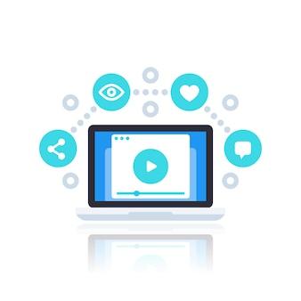 Videostreaming, vlog, video-inhoud vectorillustratie