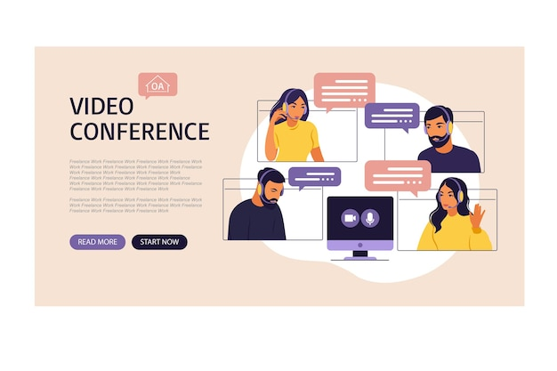 Videovergadering van de groep mensen. onlinevergadering via videoconferentie. bestemmingspagina. werk op afstand, technologieconcept. vectorillustratie in vlakke stijl.