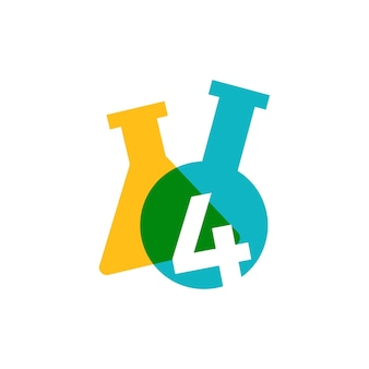 Vier 4 nummer lab laboratorium glaswerk beker logo vector pictogram illustratie