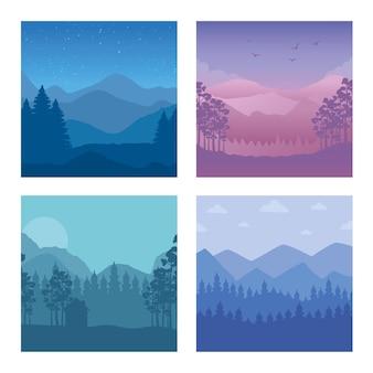 Vier abstracte achtergronden van landschapsscènes