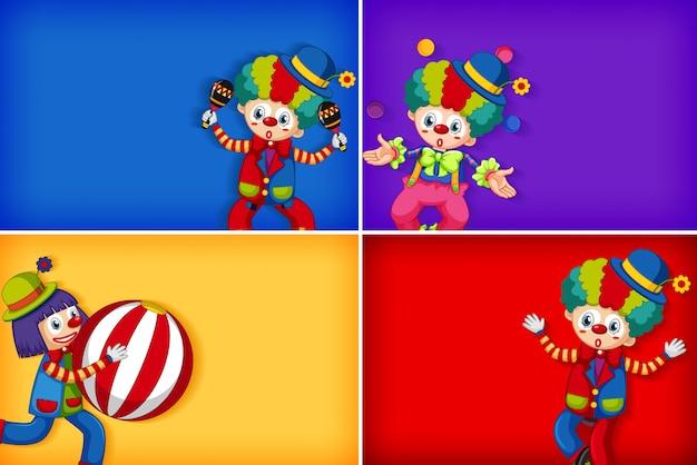 Vier achtergrond sjabloonontwerpen met gelukkige clown Gratis Vector