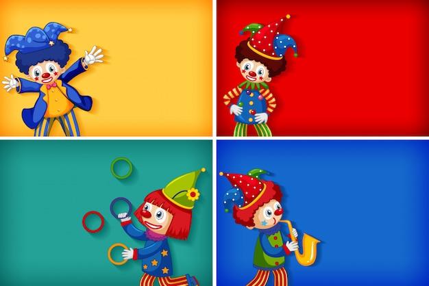 Vier achtergrond sjabloonontwerpen met grappige clowns