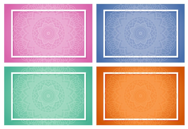 Vier achtergronden met mandala-patronen