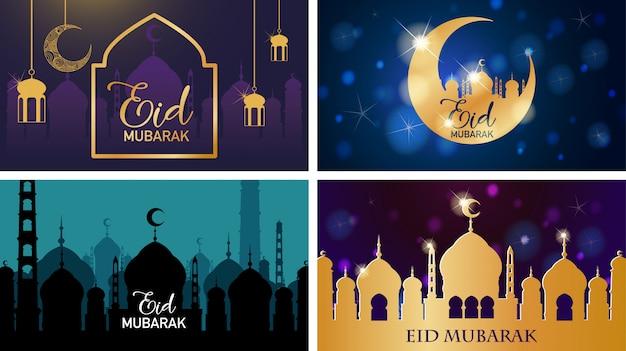 Vier achtergrondontwerpen voor moslimfestival eid mubarak