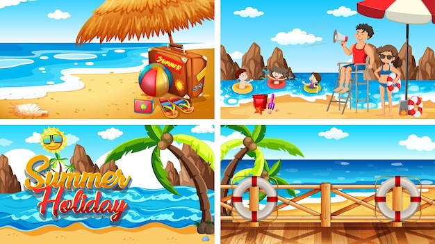 Vier achtergrondscènes met mensen op het strand