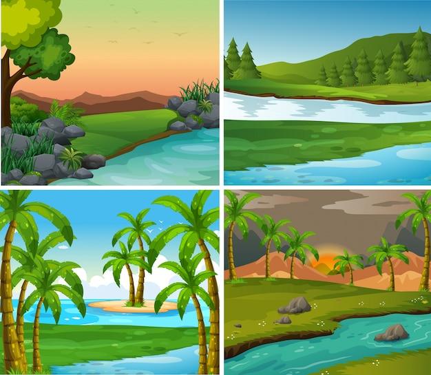 Vier achtergrondscènes van rivieren en veld