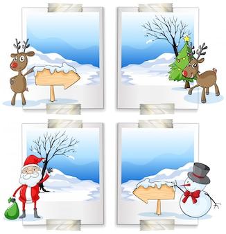 Vier afbeeldingsframes met kerstthema