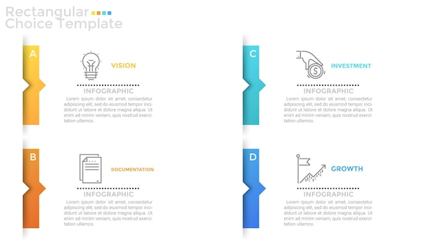 Vier afzonderlijke papieren witte rechthoeken of kaarten met kleurrijke pijlen of wijzers, dunne lijnpictogrammen en plaats voor tekst of beschrijving erin. schone infographic ontwerpsjabloon. vector illustratie.